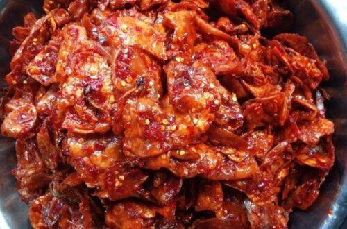 cách làm mực khô xào ớt cay